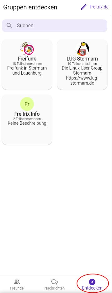 FluffyChat öffentliche Gruppen finden.